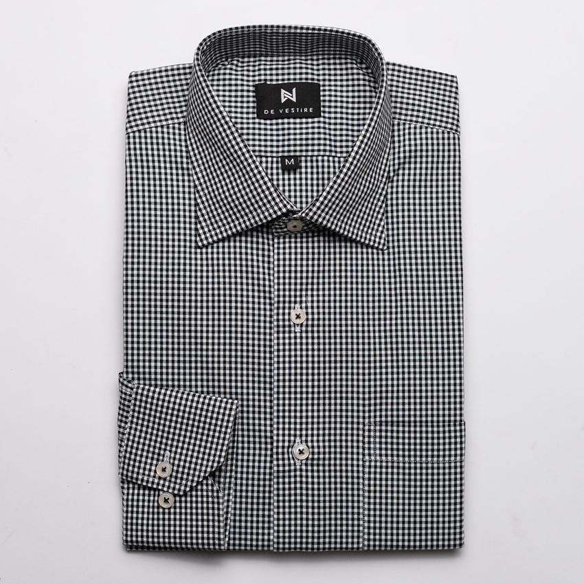 Black White Small Check Shirt For Men By De Vestire