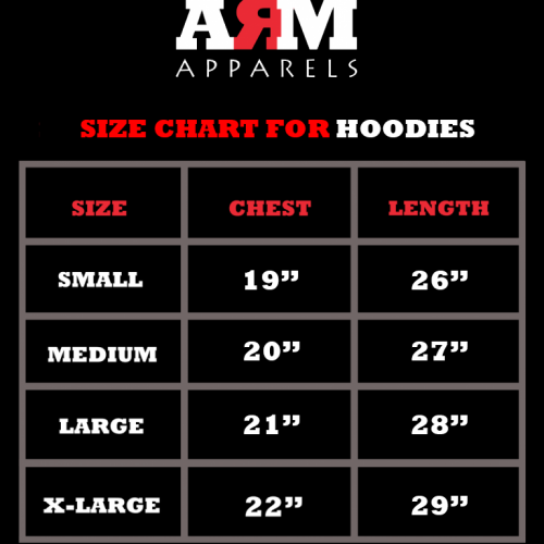 SizeChart For Hoodies