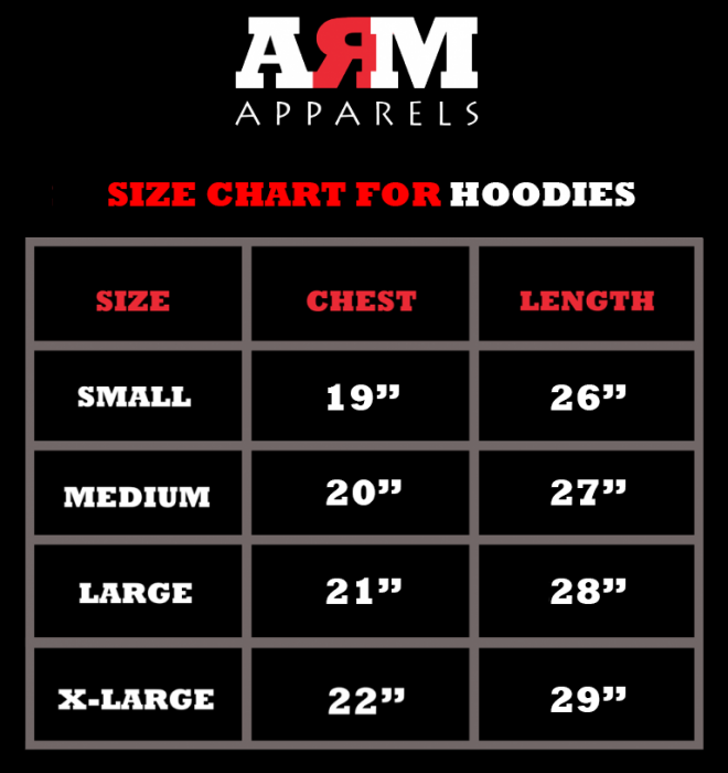 SizeChart For Hoodies