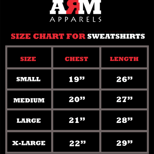 SizeChart For SweatShirts