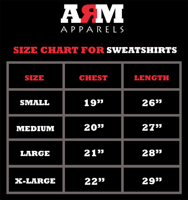 SizeChart For SweatShirts